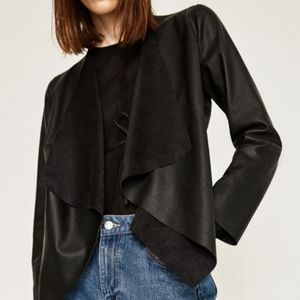 Faux Leather Jacket with Draped Lapels